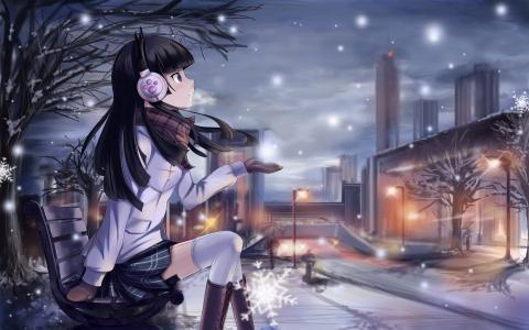 动漫女孩在雪壁纸