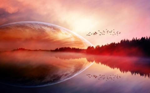 行星上升壁纸