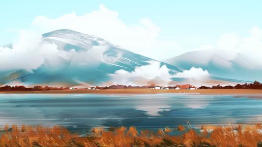 手绘山川湖泊美景