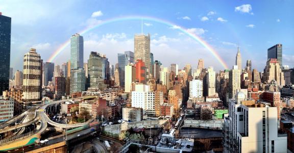 城市彩虹壁纸