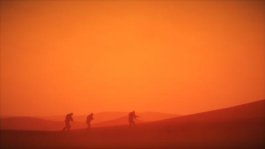 士兵在沙漠尘埃高清壁纸