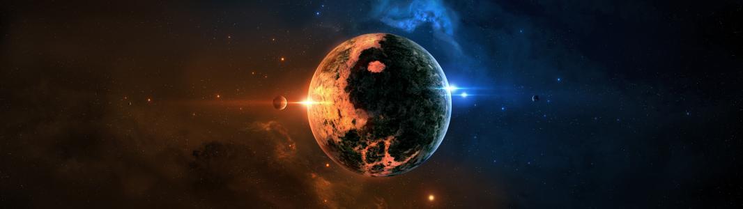 行星在外层空间双屏幕壁纸