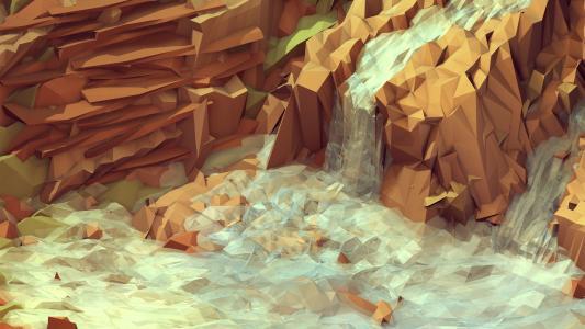 低多边形瀑布壁纸