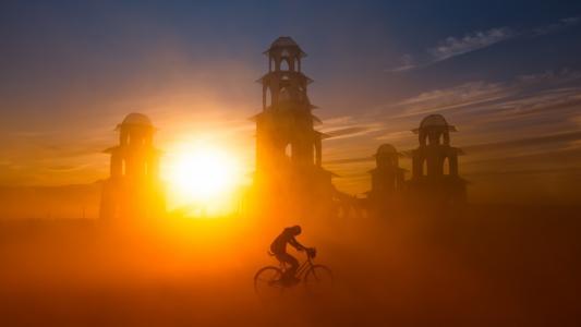 自行车日落高清壁纸