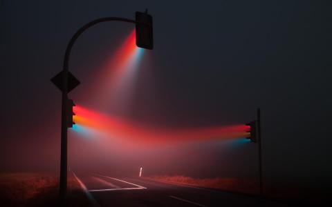 多彩的交通灯梁壁纸