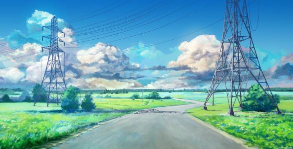 动漫风景空路壁纸