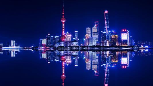 上海城市外滩夜景