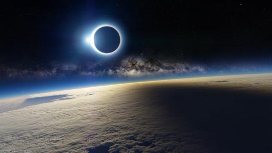 日食从地球轨道高清壁纸
