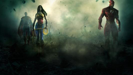 超人,神奇女侠和闪光高清壁纸