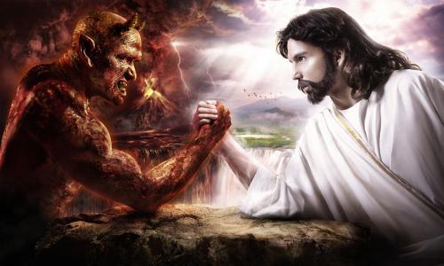 耶稣与撒旦手臂摔跤壁纸