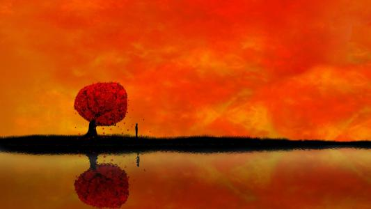 橙色的天空高清壁纸