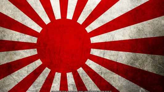 日本升起的太阳旗子高清壁纸