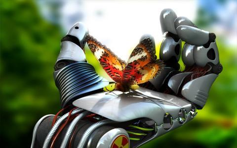 机器人手壁纸上的蝴蝶