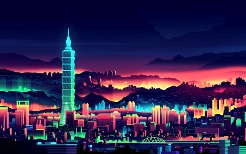 2D多彩的城市景观壁纸