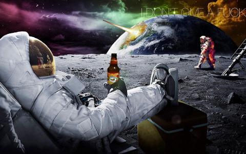 宇航员喝啤酒壁纸