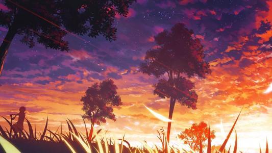 动漫日落风景高清壁纸