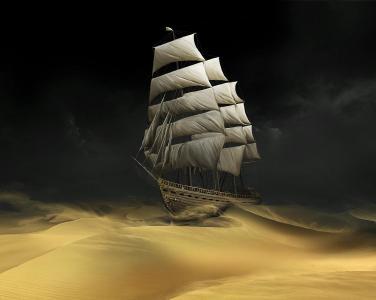 帆船沙漠壁纸
