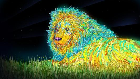 迷幻的狮子壁纸