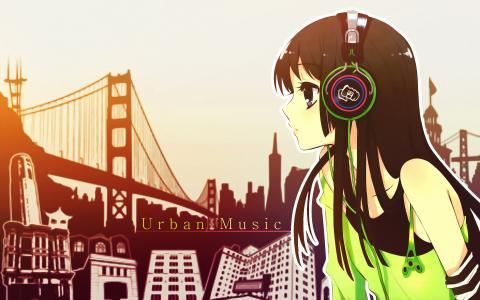 耳机壁纸的女孩