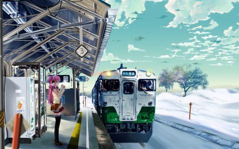 火车站壁纸的女孩