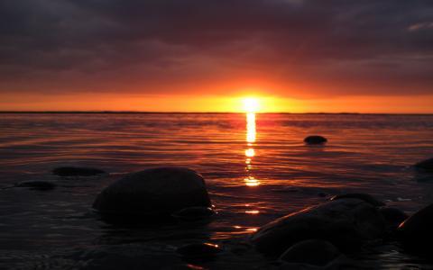 海洋日落壁纸