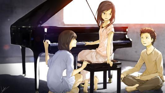动漫女孩与仪器高清壁纸