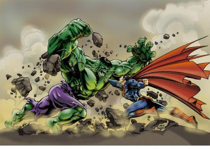 绿巨人vs超人壁纸