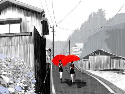 女孩在雨中红伞壁纸