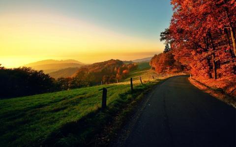 秋天的场景孤独的路壁纸