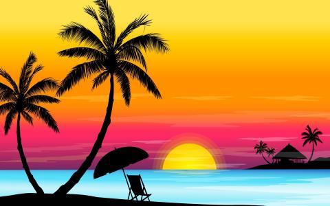 2D多彩的日落风景壁纸