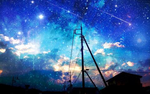 多彩的天空和星星壁纸