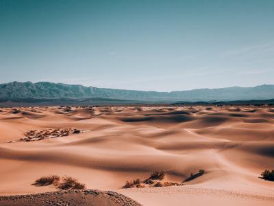 一望无际的荒芜沙漠风光