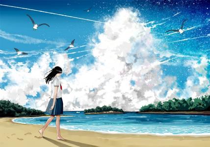 女孩在海滩壁纸