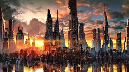 手绘赛博朋克概念城市