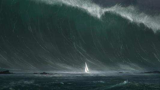 巨浪与小帆船高清壁纸