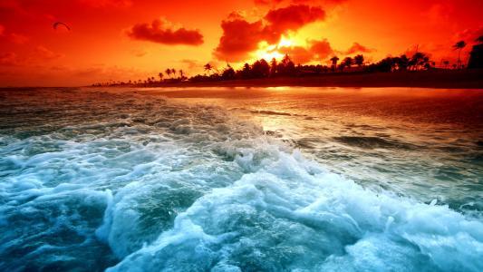 美丽的海滩日落壁纸