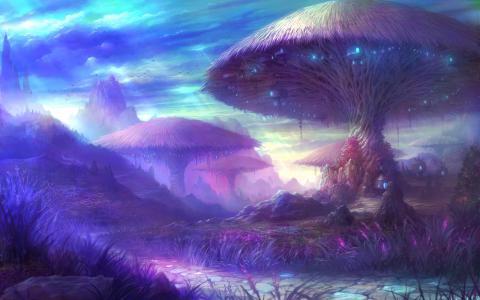 蘑菇树壁纸
