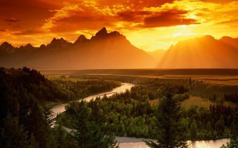 人类发展报告景观和日落壁纸