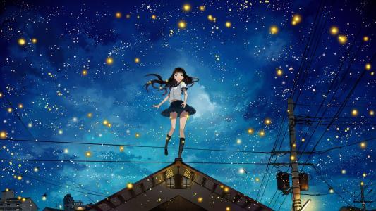动漫风景在晚上高清壁纸
