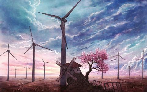 风力涡轮机风景壁纸