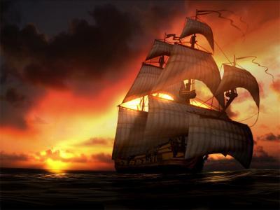 线壁纸的3d船