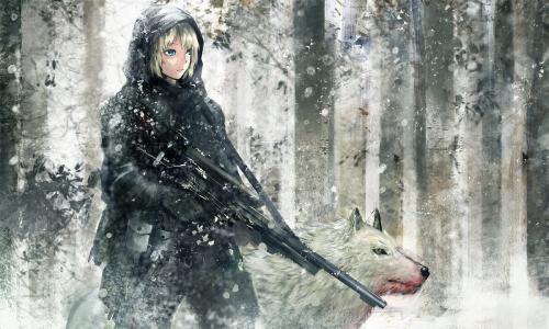 动漫女孩与武器壁纸