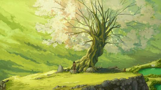 女孩坐在树上的壁纸