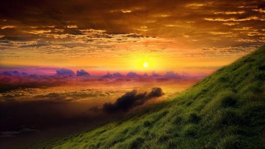 在云日落山高清壁纸