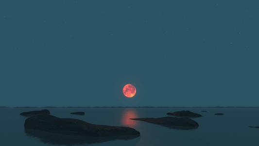 地平线上的橙色月亮高清壁纸