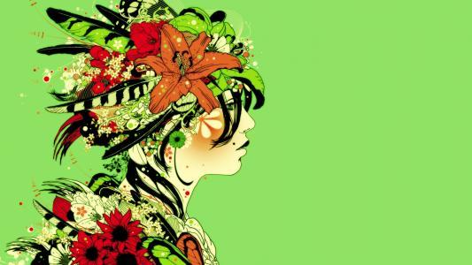 绿色女孩高清壁纸
