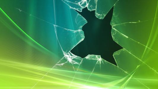 破碎的绿色玻璃高清壁纸