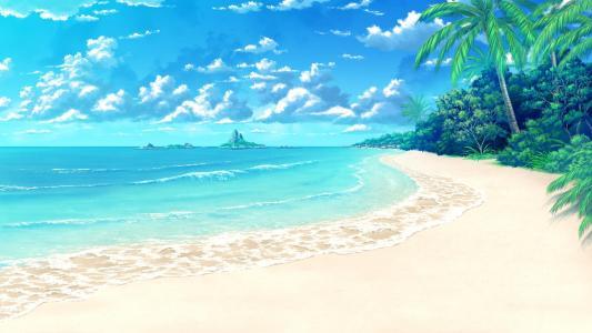 动漫热带海滩风光壁纸
