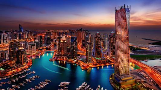 俯瞰阿联酋迪拜