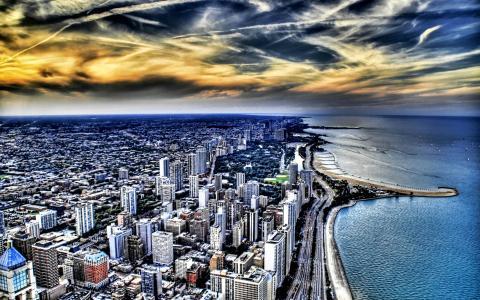 极端Hdr芝加哥都市风景壁纸